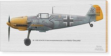 Bf 109e W.nr.5819 Geschwaderkommodore Jg 26 Adolf Galland Wood Print by Vladimir Kamsky