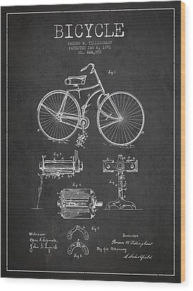Bicycle Patent Drawing From 1891 Wood Print by Aged Pixel