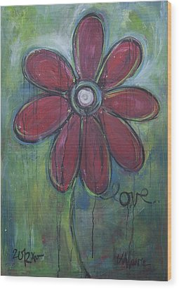 Big Love Daisey Wood Print by Laurie Maves ART