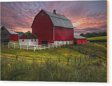 Big Red At Sunset Wood Print by Debra and Dave Vanderlaan
