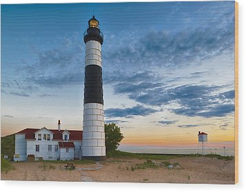 Big Sable Point Lighthouse Sunset Wood Print by Sebastian Musial