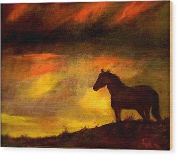 Big Sky Wood Print by Judie White