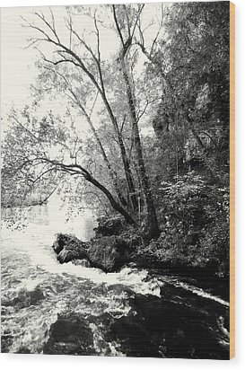 Big Spring In B And W Wood Print by Marty Koch