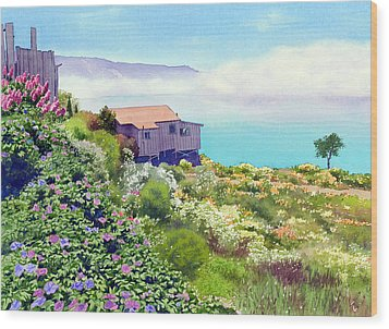 Big Sur Cottage Wood Print by Mary Helmreich