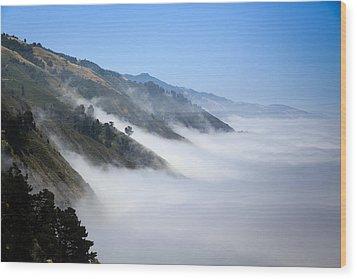 Big Sur Fog Wood Print by Mathew Lodge