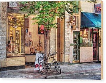 Bike - The Music Store Wood Print by Mike Savad