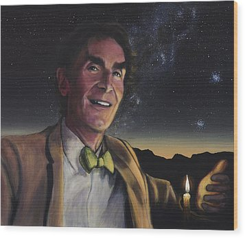 Bill Nye - A Candle In The Dark Wood Print by Simon Kregar