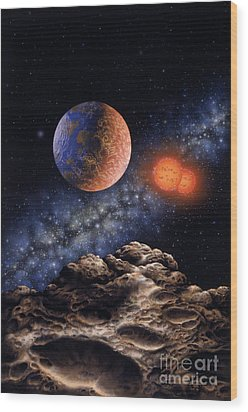 Binary Red Dwarf Star System Wood Print by Lynette Cook