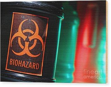 Biohazard Wood Print by Olivier Le Queinec