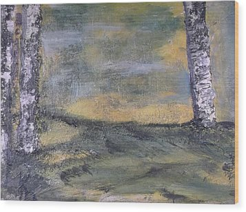 Birch Landscape Wood Print by Karen Lillard