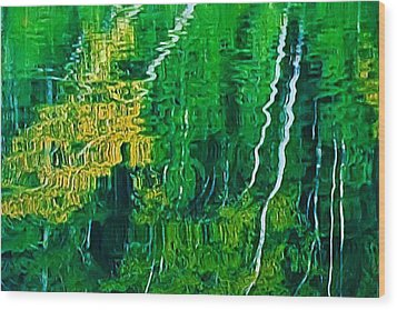 Birch Trees Reflection Wood Print by Pat Now