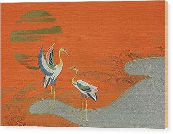 Birds At Sunset On The Lake Wood Print by Kamisaka Sekka