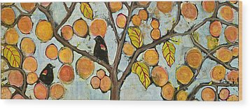 Birds In Paris Landscape Wood Print by Blenda Studio