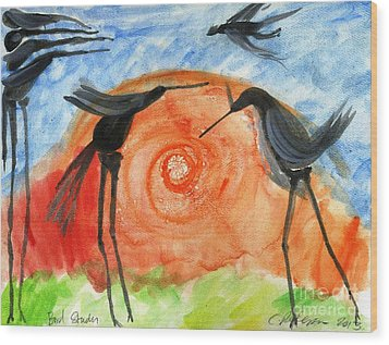 Birds In The Sun. A Black Bird Study 2013 Wood Print by Cathy Peterson
