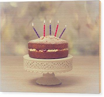 Birthday Cake Wood Print by Amanda Elwell