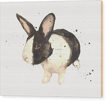 Black And White Bunny Wood Print by Alison Fennell