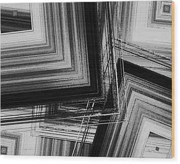 Black And White Geometric Art Wood Print by Mario Perez