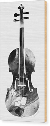 Black And White Violin Art By Sharon Cummings Wood Print by Sharon Cummings