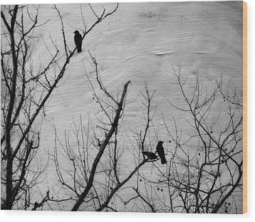 Black Birds Wood Print by Kathy Jennings