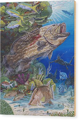 Black Grouper Hole Wood Print by Carey Chen