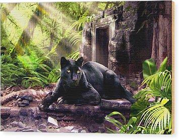 Black Panther Custodian Of Ancient Temple Ruins  Wood Print by Regina Femrite