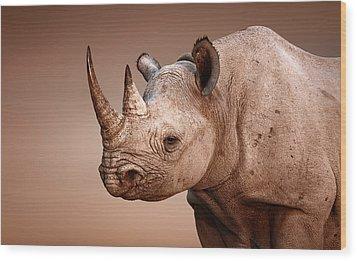 Black Rhinoceros Portrait Wood Print by Johan Swanepoel