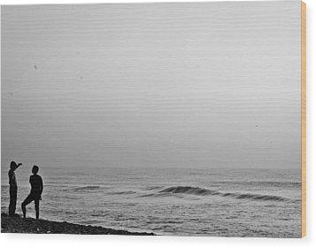 Black White Beach Wood Print by Sathish Sen