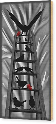 Blackbird Ladder Wood Print by Barbara St Jean