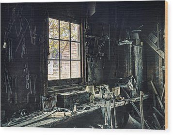 Blacksmiths Workbench - One October Afternoon Wood Print by Gary Heller
