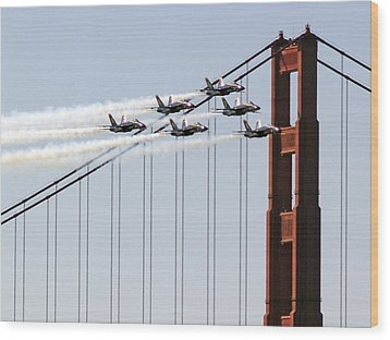 Blue Angels And The Bridge Wood Print by Bill Gallagher