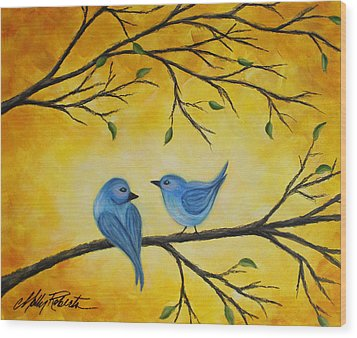 Blue Birds Wood Print by Molly Roberts