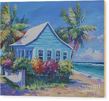 Blue Cottage On The Beach Wood Print by John Clark