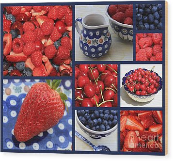 Blue Dishes And Fruit Collage Wood Print by Carol Groenen
