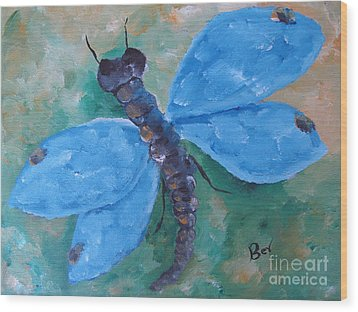 Blue -dragonfly Wood Print by Beverly Livingstone