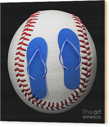 Blue Flip Flops Baseball Square Wood Print by Andee Design