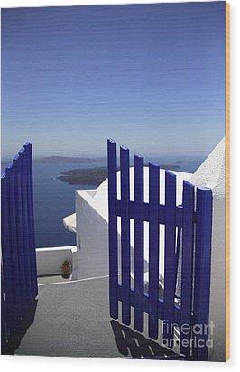 Blue Gate Wood Print by Deborah Benbrook