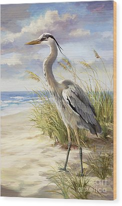 Blue Heron  Wood Print by Laurie Hein