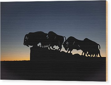 Blue Hour At Caprock Canyons State Park Wood Print by Melany Sarafis