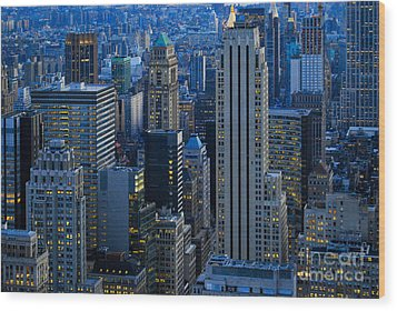 Blue Hour In New York City Usa Wood Print by Sabine Jacobs