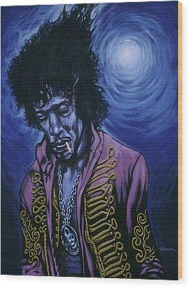 Blue Jimi Wood Print by Gary Kroman