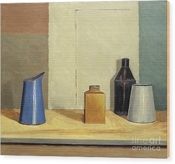 Blue Jug Alone Wood Print by William Packer