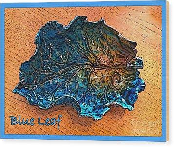 Blue Leaf Ceramic Design 2 Wood Print by Joan-Violet Stretch