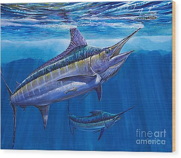 Blue Marlin Bite Off001 Wood Print by Carey Chen