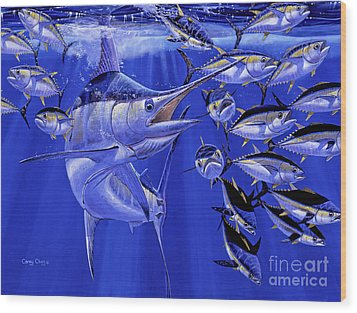 Blue Marlin Round Up Off0031 Wood Print by Carey Chen