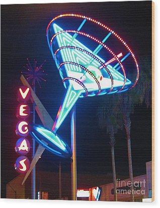 Blue Martini Glass Las Vegas Wood Print by John Malone