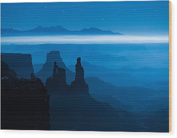 Blue Moon Mesa Wood Print by Dustin  LeFevre