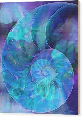 Blue Nautilus Shell By Sharon Cummings Wood Print by Sharon Cummings