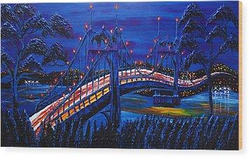 Blue Night Of St. Johns Bridge #14 Wood Print by Portland Art Creations