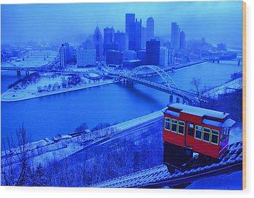 Blue Pittsburgh Wood Print by Matt Matthews