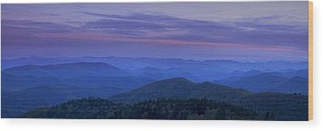 Blue Ridge Panorama At Dusk Wood Print by Andrew Soundarajan